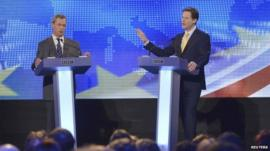 Nigel Farage (L) and Nick Clegg at Wednesday's debate