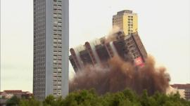 Tower block at Red Road flats being demolished