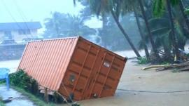 Transport container in floodwater