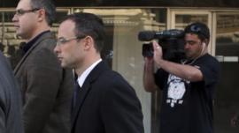 Oscar Pistorius walking into court