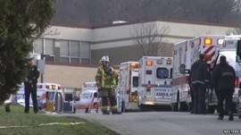 Emergency services outside Franklin Regional High School in Pennsylvania
