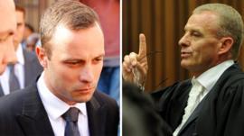 Oscar Pistorius and state prosecutor Gerrie Nel
