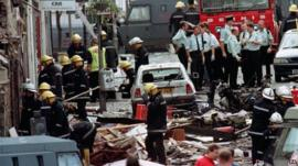 Debris and aftermath of Omagh bomb