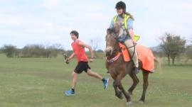 Horse v man race