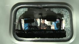 A smashed vehicle window