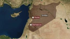 graphic showing location of Homs on map of Syria