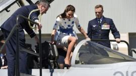 The Duchess of Cambridge in a jetfighter aircraft