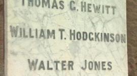 Names on war memorial