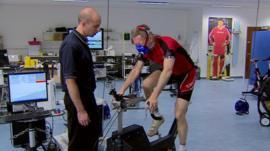 Fergus Walsh taking cardiovascular cycling test