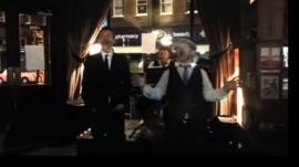 Damon Albarn and Kristian Cockburn with Joe Bell on piano
