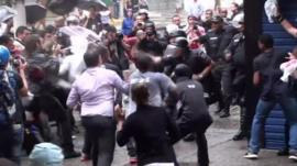 A confrontation between protesters and the police in Rio