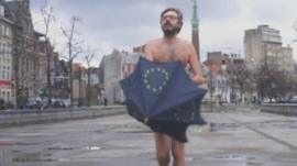 EU election film sill with man and umbrella