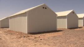 Cabins in a refugee camp