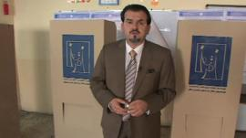 Nahed Abouzeid inside Baghdad polling station