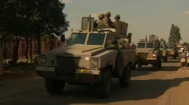 Armoured cars on street in South Africa