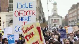 A demonstration in Ireland following the banking crash
