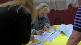 Polling station in Sloviansk