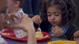 Child eats meal
