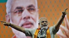 India's main opposition Hindu nationalist Bharatiya Janata Party (BJP) leader Narendra Modi speaks during a campaign rally