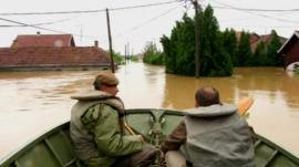 Rescuers in boat