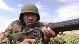 Recruit on training exercise in Afghanistan