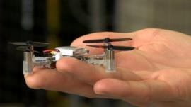 Micro-drone in researcher's hand