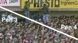 Still from footage showing inside of Hillsborough stadium