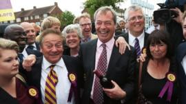 Nigel Farage celebrates with local councillors