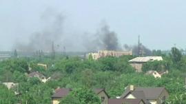 Smoke at Donetsk airport