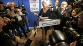 Journalists surround Marine Le Pen, France