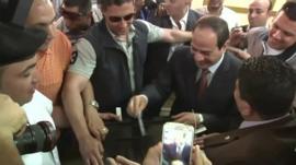 Presidential candidate Marshall Abdel Fattah El Sisi votes