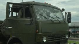Bullet-riddled military vehicle