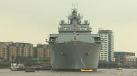 HMS Bulwark docks in Greenwich