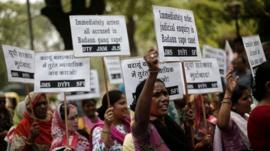 Demonstrators from All India Democratic Women's Association (AIDWA) stage a protest against the rape and killings of two teenage girls, New Delhi, 31 May 2014