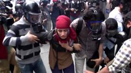 Demonstrators in Istanbul
