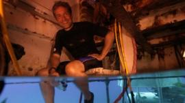 Fabien Cousteau in the underwater habitat