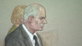 Court drawing of Malcolm Fyfield
