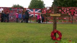 A poppy remembrance wall at Manorfield Primary, in Stoney Stanton