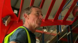 Man operating forklift truck