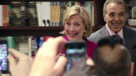 Hillary Clinton at book launch in Manhattan