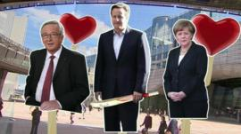 Graphic showing Jean Claude Juncker, David Cameron and Angela Merkel