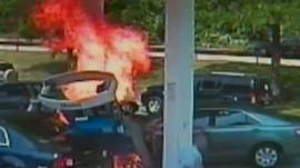 Gas pump explodes into flames after being hit by a car