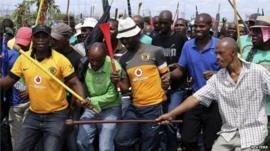 Striking miners
