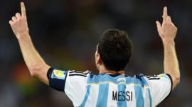 Argentina's Lionel Messi celebrates goal