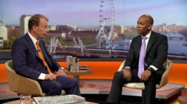 Chuka Umunna MP, Shadow Business Secretary with Andrew Marr