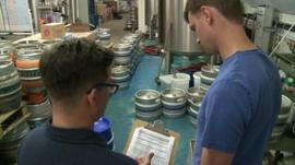 Workers in Five Points Brewing company