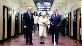 Queen with Peter Robinson (right) and Martin McGuinness