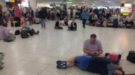 People waiting at Gatwick