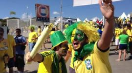 Brazilian fans singing songs for their team