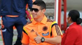 Colombia's star player Jame Rodriguez arrives back in Colombia